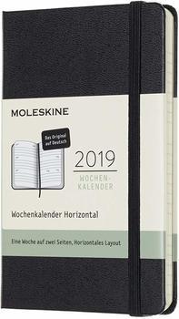 Moleskine 12 Monate Wochen-Notizkalender 2019 Hardcover Pocket schwarz deutsch