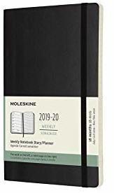 Moleskine 18 Monate Wochen-Notizkalender Softcover Large 2019/2020 schwarz