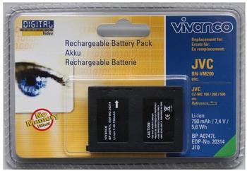 VIVANCO BP A0747 L Lithium Ionen (Li-Ion) Akku für JVC Camcorder, 700 mAh Kapazität