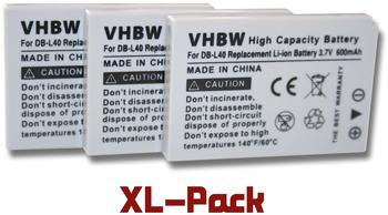 vhbw 3x vhbw Akku SET passend für Kamera SANYO Xacti: DMX-HD1, DMX-HD1E, DMX-HD1EX, DMX-HD2 wie DB-L40