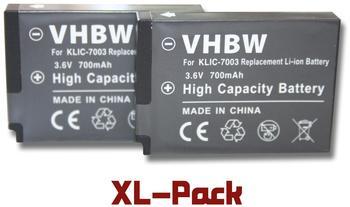 vhbw 2x Li-Ion Akku Set 700mAh (3.6V) für Kodak Easyshare V803, V1003, M380, M381, M420, Z950 wie K