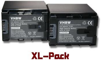 vhbw 2x Li-Ion Akku Set 4000mAh (3.6V) für Kamera JVC GZ-E10, GZ-E100, GZ-E200, GZ-E200AU, Gz-E200B