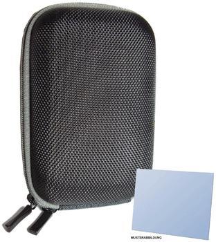 equipster Hartschalentasche New Edition schwarz inklusive equipster Displayschutzfolie für Ihre Kompaktkamera Panasonic Lumix DMC TZ101 - mit Gürtelschlaufe und Schultergurt.