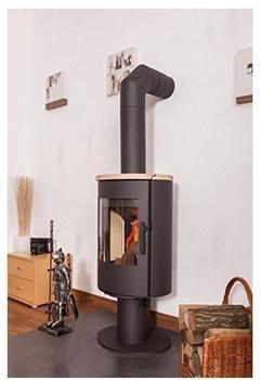 Steiner Shopping Kaminofen Seco T06 aus Stahl mit Sandsteindeckplatte - Korpusfarbe: Schwarz