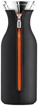 Eva solo Kühlschrank Karaffe mit Neopren-Mantel 1,0 l schwarz/orange
