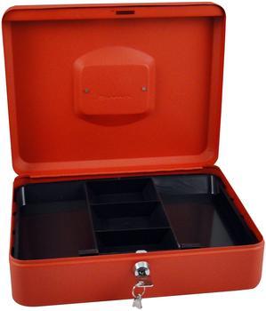 Pavo Premium Geldkassette, Zylinderschloss mit 2 Schlüssel, 30 x 24 x 9 cm, rot