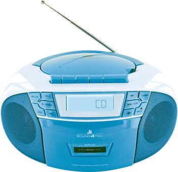 Schwaiger CD-Player mit Kassettendeck und FM Radio blau