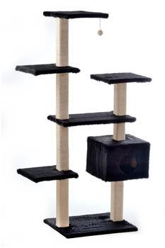 Silvio Design Katzen Kletterbaum Roxy 50x110x175cm schwarz Plüsch Sisal Katzenbaum Kratzbaum