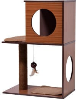 Dobar Kratzbaum Kelly mit Katzenhöhle und Spielball 77x54x34cm braun