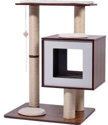Dobar Kratzbaum Lucy mit 4 Säulen 80x64x48cm walnuss/weiß