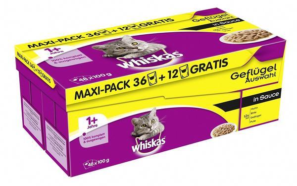 Whiskas 1+ Geflügelauswahl in Sauce 48 x 100 g