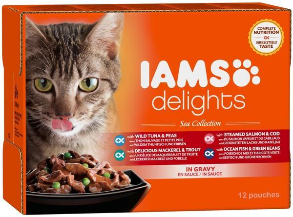 IAMS Delights Adult in Sauce, Sea Collection Nassfutter (für erwachsene Katzen mit verschiedenen Fisch-Sorten Multibox), 12 x 85 g)