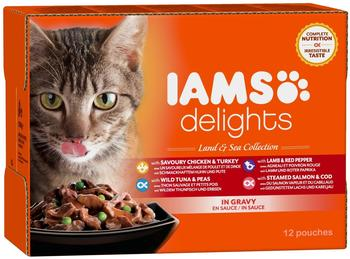 IAMS Delights Adult in Sauce, 12 x 85 g)