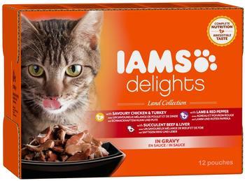 Iams Delights Adult in Sauce, Land Collection, Nassfutter für erwachsene Katzen mit verschiedenen Fleisch-Sorten Multibox mit 12 x 85 g)