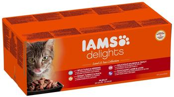 Iams Delights Erwachsen Land & Sea Collection in Gelee 48 x 85 g