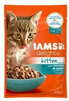 IAMS Delights Kitten Huhn in Sauce, Nassfutter für junge Kätzchen bis 12 Monate, Probiergröße, Einzelbeutel (85 g)