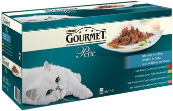 Gourmet 60 x 85 g Gourmet Perle Erlesene Streifen mit Huhn, Rind, Lachs Kaninchen) 60x85g
