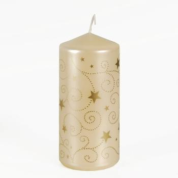 Papstar Weihnachts-Stumpenkerze lackiert Little Stars creme (81302)