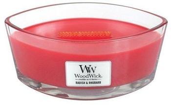 WoodWick Retich und rhabarber Duftkerze in Elliptischem Glasgefäß mit Heartwick Holzdocht 453,6g Glas Rot 11,5x19,2x8,8cm (76048)
