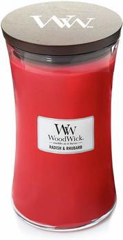 WoodWick Retich und rhabarber große Duftkerze Classic mit Holzdeckel 609,5g Glas rot 10,3x10,6x17,7cm (93048)