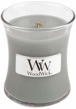 WoodWick Duftkerze im Glas mit Holzdeckel Gemütlich am Feuer Amber Moschus und Vetiveria (98106)