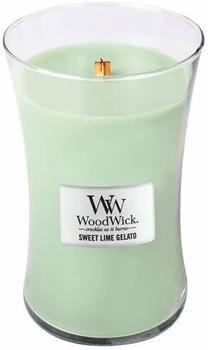WoodWick Süßes limetteneis große Duftkerze Classic mit Holzdeckel 609,5g Glas grün 10,3x10,3x17,7cm (93045)
