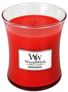 WoodWick karminrote beere mittelgroße Duftkerze im Glas mit Holzdeckel 275g Glas Rot 9,8x9,5x11,6cm (92080)