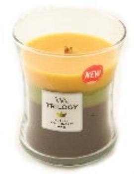 WoodWick Brauchtum im Herbst Trilogy medium duftkerze Sanduhr-Glas mehrfarbig gelb/grün/braun 9,8x9,5x11,9cm (92961)