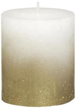Bolsius Rustic Stumpenkerze 80/68mm weiß-gold