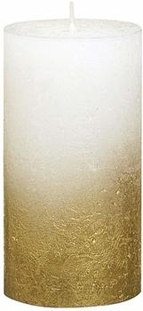 Bolsius Rustik 13x6,8cm weiß/gold