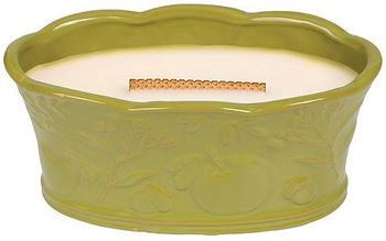 WoodWick Apfelkorb Duftkerze in Keramikgefäß mit Heartwick Holzdocht 388,4g Glas grün/weiß 19,3x10,1x9,1cm (13265)