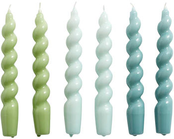 HAY Set of 6 Twisted Candles Blue/Green