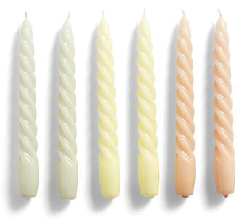 HAY Set of 6 Twisted Candles Grey/Peach/Yellow