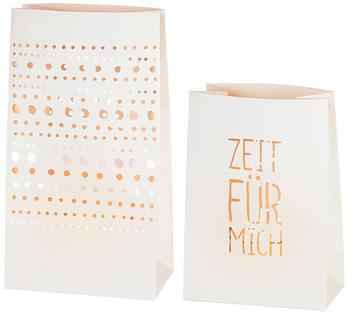"""räder Lichttüten 2er-Set Punkte + """"Zeit für Mich"""" weiß (13624)"""