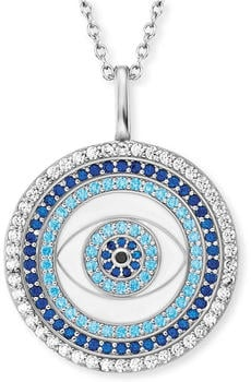 Engelsrufer Kette Lucky Eye Silber mit Emaille und Zirkonia Multicolor (ERN-EYE-ZIM)