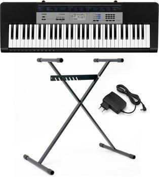 Casio Keyboard CTK-1550SET Schwarz, Grau inkl. Netzteil, inkl. Stativ