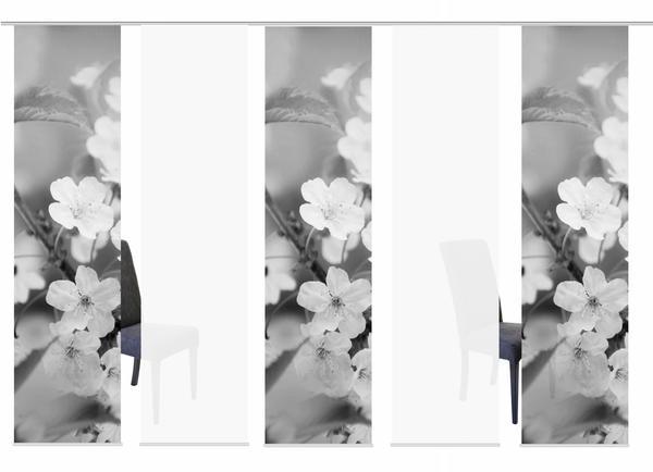 HOME WOHNIDEEN Schiebegardine 5Er Set Digitaldruck Nila 245 X 60 CM Grau, HOME WOHNIDEEN