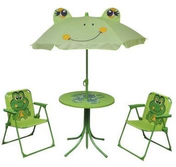 vidaXL Garden bistro set for children with umbrella green (41843)