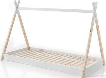 Vipack Tipi-Zelt-Optik Bett 90x200 cm Weiß/Natur (TIBE9014)