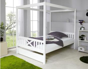 Ticaa Himmelbett Lino Kiefer Weiß 140x200 (ohne Bettkasten) 140 x 200 cm (929604)