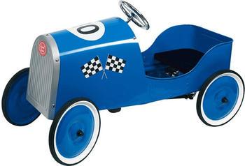 Goki Nostalgisches Tretauto Metall Rennwagen blau