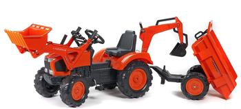 Falk Traktor Farmer mit Schaufel, Heckbagger und Anhänger