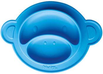 nuby-rutschfester-esslernteller-silikon-affe-blau