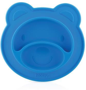 nuby-rutschfester-esslernteller-silikon-baer-blau