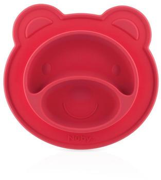 nuby-rutschfester-esslernteller-silikon-baer-rot