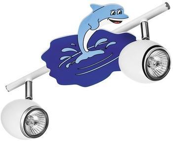 BRITOP Lighting LED Deckenstrahler Delfin LED Spot-Schiene, 2-flammig, 4,5W, GU10, weiß/chrom/blau SP-2205202