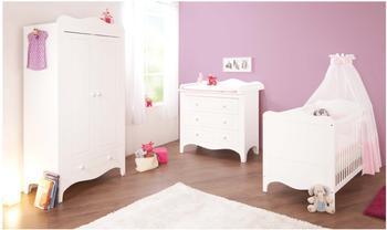 Pinolino Kinderzimmer Fleur 3-tlg. (Wickelkommode breit) (Kleiderschrank 2-trg.)
