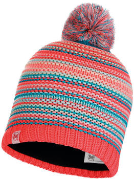 Buff Knitted & Band Polar Fleece Hat Amity coral pink