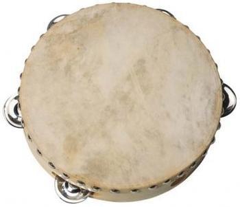Goki Tamburin mit Naturfell 5 Schellen (UC085)