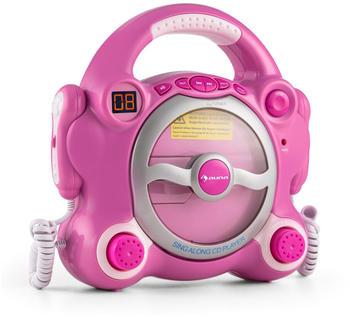 Auna Pocket Rocker Karaoke-CD-Player, Batteriebetrieb - pink